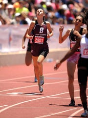 Bowie's Kamryn Cantwell crosses the finish line in the Class 3A girls 400m during the UIL State Track and Field Championships on Saturday, May 13, 2017, at Mike A. Myers Stadium in Austin.