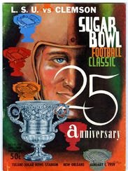 The game day program from the 1958 Sugar Bowl game in New Orleans. Clemson lost to No. 1 LSU 7-0 in the game, which was played before a capacity crowd of 82,000 at Tulane Stadium.