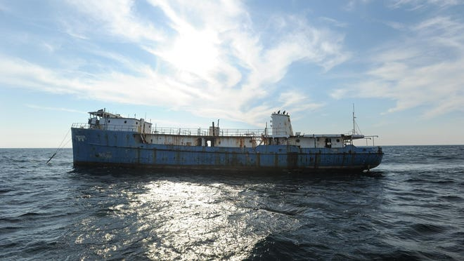 View of the MV Shearwater that was sunk to the bottom of Delaware Bay as part of the state's artificial reef program.