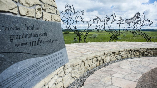 The Indian Memorial lies across from the 7th US Cavalry Memorial on Last Stand Hill at the Little Bighorn Battlefield. It was dedicated in June 25, 2003 and was built to honor all of the tribes defending their way of life at the Battle.