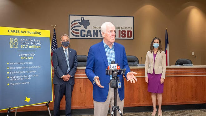 U.S. Sen. John Cornyn, R-Texas, answers questions from the media after he met with representatives from Canyon ISD about the impact CARES Act funds have had on the district.