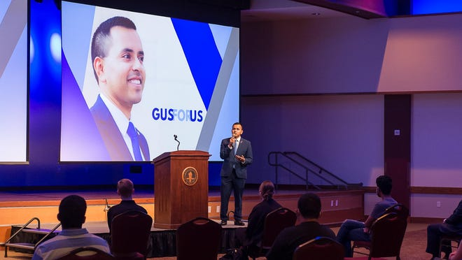 13th District Congressional Democratic candidate Gus Trujillo speaks to students at West Texas A&M University during a candidate forum Thursday evening.