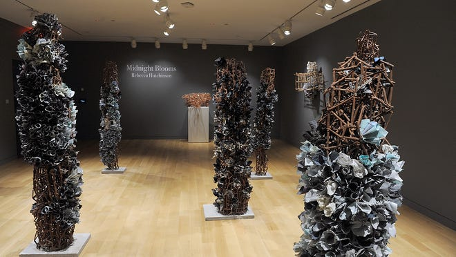 """9/23/20-- FRAMINGHAM--  At the Danforth Museum of Art at Framingham State University, artist Rebecca Hitchinson's installation, """"Midnight Blooms."""""""