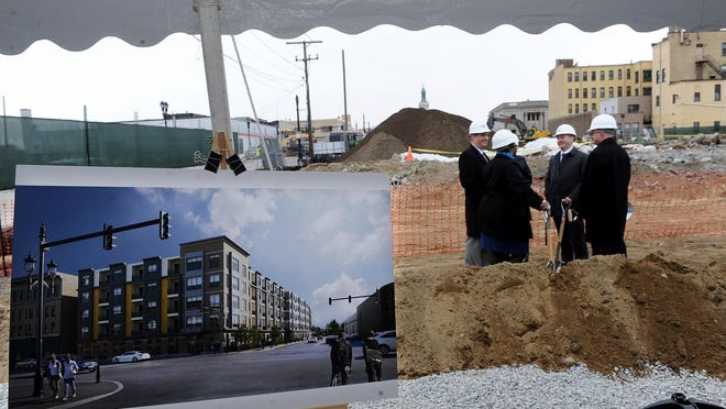 An artist's rendition of the 196-apartment complex at 75 Concord St. in Framingham at a groundbreaking ceremony in April 2018 .