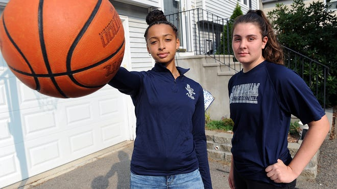 Selina Monestime and Katie Regan (right), both rising sophomores at Framingham High School, were a dynamic duo on the varsity basketball team last year.