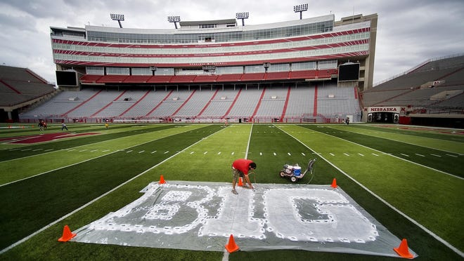 The Big Ten conference logo is painted on the Nebraska football field in Lincoln on Oct. 6, 2011.