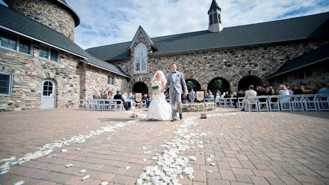 One of the courtyards available for weddings at Castle Farms in Charlevoix, which includes five separate reception venues.