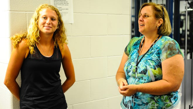 Former Pocomoke High School field hockey star Taylor West discusses the importance of athletic trainers in schools on the shore with her former athletic trainer Kim Baker at Pocomoke High.