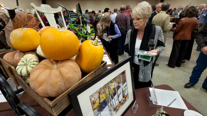Marcia Anderson browses silent auction items during the 23rd annual Taste Treats in Tulare to benefit the Tulare Historical Museum.