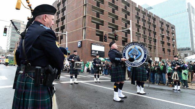 Delaware State Police Pipes & Drums perform at the Irish Culture Club of Delaware's 40th annual St. Patrick's Day Parade.