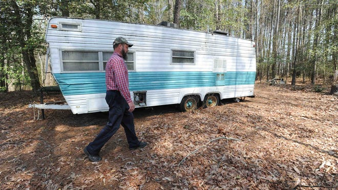 View of a travel trailer that James Schreppler has on the property. James Schreppler, a Millsboro chiropractor, on his 15 acres of property that was recently acquired in Millsboro. A Chancery Court ruling last month gave him the property through adverse possession.