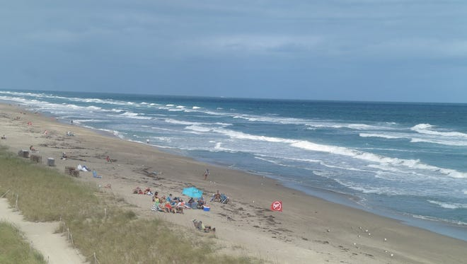Beachgoers sun themselves on the shore, but they can't go in the water, as indicated by a red no-swimming flag at Jensen Beach on Friday, Jan. 13, 2017, after a shark bit a lifeguard in the hand.