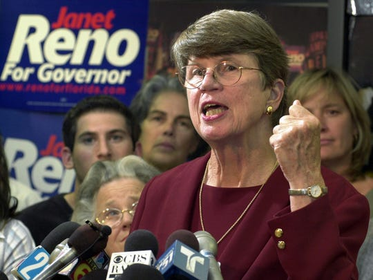 In this Tuesday, Sept. 17, 2002 file photo, Democratic gubernatorial candidate Janet Reno gives a concession speech at her Miami Lakes, Fla., campaign headquarters.