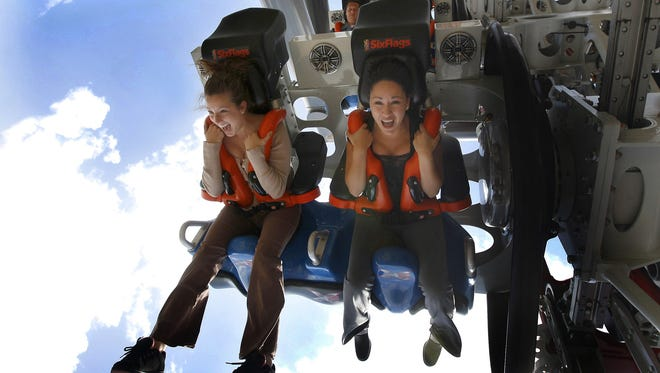 The X2 sends riders screaming around its 3,600-foot maze of steel track at Six Flags Magic Mountain.