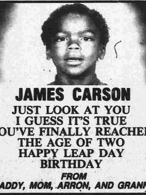 James Carson's birthday message from his family in the Battle Creek Enquirer on Feb. 29, 1992.
