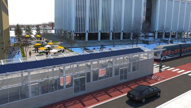 A rendering provided by the Regional Transit Authority of Southeast Michigan shows how bus rapid transit lines might appear in downtown Mt. Clemens.
