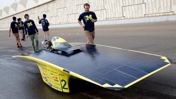 The University of Michigan solar car team car ran through city streets and the desert on its way to victory at the Abu Dhabi Solar Challenge this week. Quantum finished third in the World Solar Challenge in 2011.