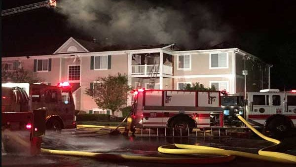 Crews at an apartment fire in Union Township early Tuesday.