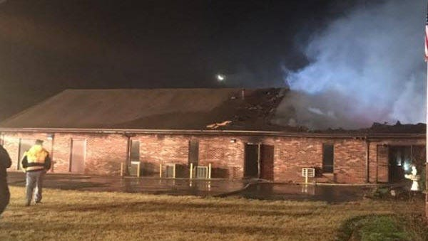 A fire at Tytus Avenue First Church of God on Sunday.