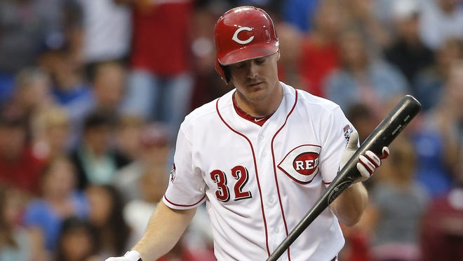 Cincinnati Reds right fielder Jay Bruce (32) reacts after striking out in the bottom of the second inning during the MLB game between the Cincinnati Reds and the Los Angeles Dodgers, Tuesday, Aug. 25, 2015, at Great American Ball park in Cincinnati, Ohio.