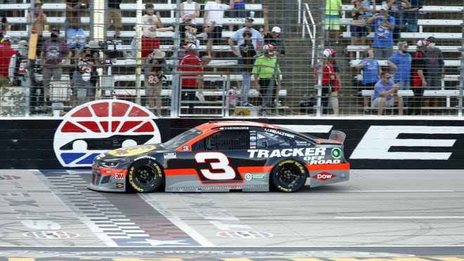 Austin Dillon crosses the finish line to win the  NASCAR Cup Series auto race at Texas Motor Speedway in Fort Worth, Texas, Sunday, July 19.
