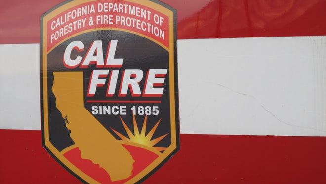 FILE - A Cal Fire / Riverside County fire truck logo.