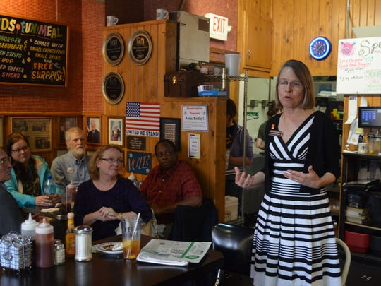 Republican congressional hopeful Mariannette Miller-Meeks speaks to supporters in 2014 at the Hamburg Inn in Iowa City.