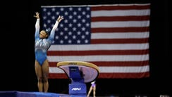 Simone Biles competes in the vault during the U.S.