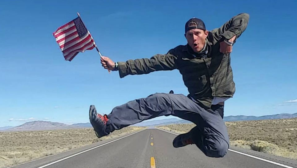 Brett Bramble on Highway 50 in Nevada on his way to