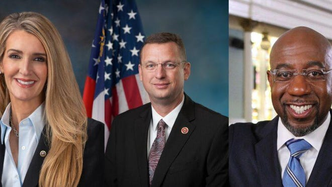 U.S. Sen. Kelly Loeffler (left), U.S. Rep. Doug Collins (center) and Rev. Raphael Warnock (right) are competing in the Nov. 3 special election.