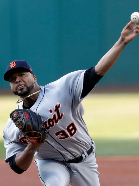 Detroit Tigers starting pitcher Francisco Liriano delivers in the first inning of a baseball game against the Cleveland Indians, Monday, April 9, 2018, in Cleveland. (AP Photo/Tony Dejak)