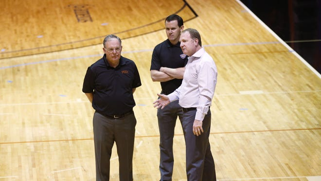 Phoenix Suns Lon Babby, President of Basketball Operations, GM Ryan McDonough and owner Robert Sarver at the Phoenix Suns draft workout on Tuesday, June 9, 2015 in Phoenix.