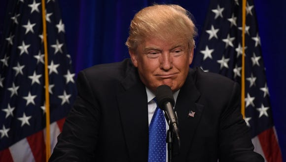Donald Trump speaks at Saint Anselm College in Manchester,