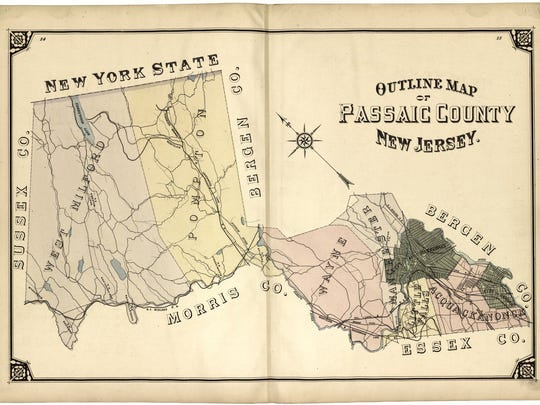 An 1877 map of Passaic County predates the creation of Pompton Lakes.
