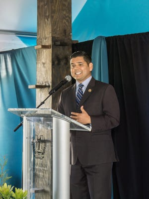 U.S. Rep. Raul Ruiz of La Quinta speaks during the recent ground-breaking ceremony for a new outpatient pavilion in Indio.