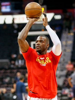 Atlanta Hawks forward Paul Millsap (4) prepares for a game against the Washington Wizards in game four of the first round of the 2017 NBA Playoffs at Philips Arena.