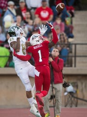 Southern Utah University cornerback Jalen Russell (1) breaks up a pass in the endzone against Sacramento State at SUU Saturday, October 13, 2018.