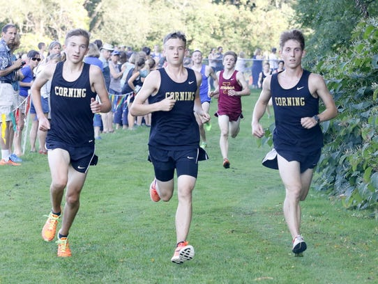 Corning runners, from left, Nathan Lawson, Bryce Derick