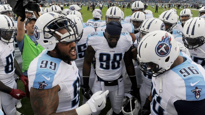 Titans defensive tackle Jurrell Casey (99) leads his teammates before the start of the team's preseason game against Carolina at Nissan Stadium Saturday, Aug. 20, 2016, in Nashville, Tenn.