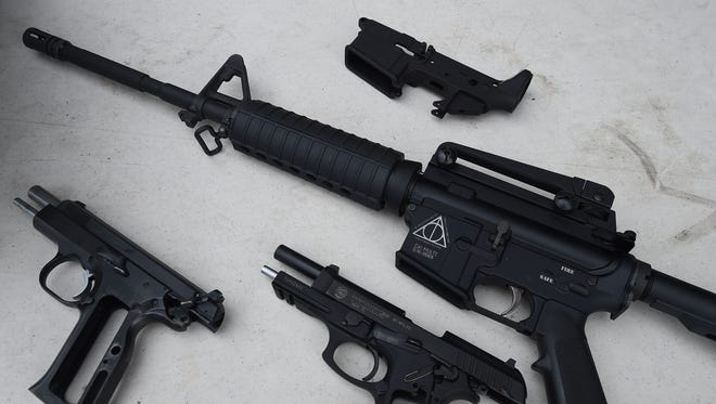 Firearms that were swapped for gift cards during a buyback event sponsored by the  Los Angeles Police Department and Mayor's Office of Gang Reduction and Youth Development on May 7, 2016 in Los Angeles, Calif.  The event was held in two locations, the public able to safely and anonymously surrender firearms in exchange for $100 and $200 gift cards. / AFP PHOTO / Mark RalstonMARK RALSTON/AFP/Getty Images