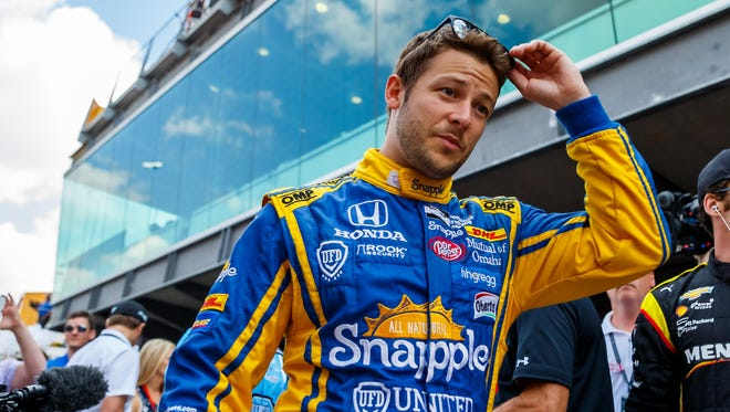 Marco Andretti prior to the 100th running of the Indianapolis 500 at Indianapolis Motor Speedway on May 29.