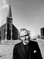 Monsignor Clement Kern spent 34 years helping the poor and unfortunate from his post at Most Holy Trinity Church in Detroit. Picture dated 1973.