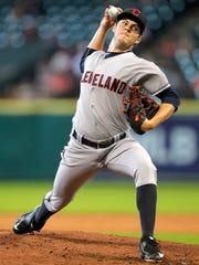 Cleveland Indians pitcher Trevor Bauer throws during