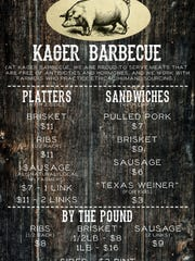 Kager Barbecue's menu which features meat free of antibiotics or hormones.
