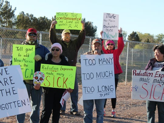 In this 2016 file photo, Tularosa Basin Downwinders peacefully protested outside of Tularosa High School before the caravan headed off to the Trinity Site Saturday morning. The Downwinders were raising awareness of the health issues  residents face.