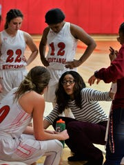 Sweetwater coach Devin Griffin speaks with her team during a timeout in Brownwood's 62-44 win at Sweetwater on Fri., Jan. 26, 2018 at Sweetwater