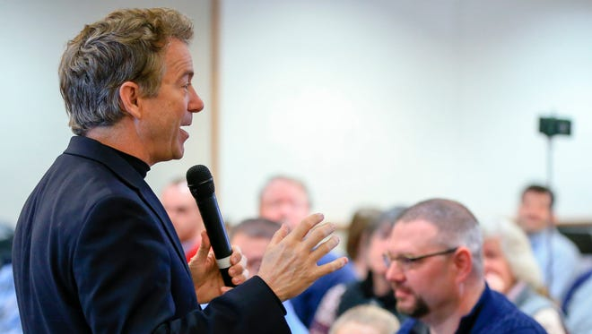 Sen. Rand Paul, R-Ky., speaks during a campaign stop in Council Bluffs, Iowa, on Jan. 7, 2016. (AP Photo/Nati Harnik) ORG XMIT: IANH112