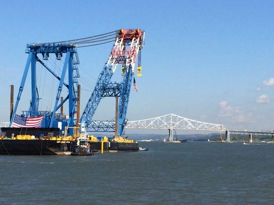 The Left Coast Lifter arriving at the Tappan Zee Bridge construction site Monday, Oct.6.