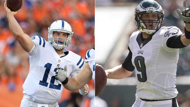 Andrew Luck of the Indianapolis Colts (left) and Nick Foles of the Philadelphia Eagles.