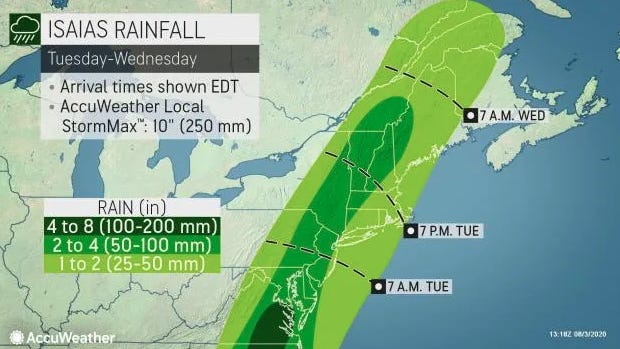 Southcentral Pennsylvania is expected to receive 2 to 4 inches of rain from Hurricane Isaias. Graphic from AccuWeather.com
